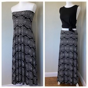 LULAROE XS Maxi Skirt Black White Stretchy Twofer